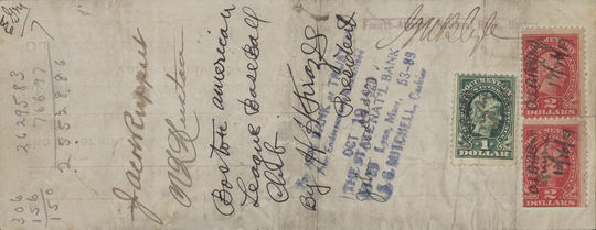The reverse side of Babe Ruth promissory note.  The signature of Jacob Ruppert is visible, as well as math calculations.  BL-6168-99 (National Baseball Hall of Fame Library)