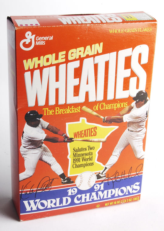 This Wheaties box came out after Kirby Puckett's outstanding performance in Game 6 of the 1991 World Series, during which he hit a walk-off home run and robbed Ron Gant of an extra-base hit with a leaping grab in left-center field. (Milo Stewart Jr. / National Baseball Hall of Fame)