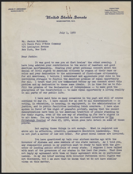 """This letter from John F. Kennedy to Jackie Robinson is preserved in the archive of the National Baseball Hall of Fame and Museum. <a href=""""https://collection.baseballhall.org/PASTIME/letter-john-f-kennedy-jackie-robinson-1960-july-01-1#page/1/mode/1up"""">PASTIME</a> (National Baseball Hall of Fame and Museum)"""