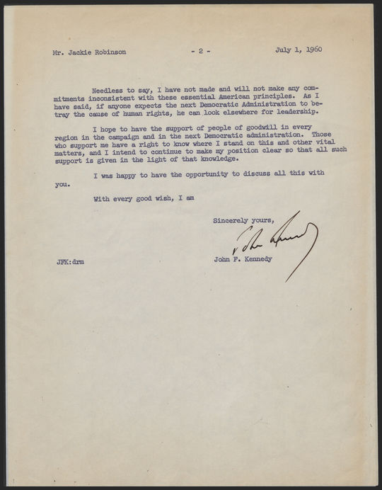 The second page of John F. Kennedy's letter to Jackie Robinson in 1960. (National Baseball Hall of Fame and Museum)