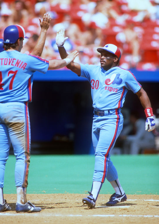 Tim Raines returned to the Expos on May 2, 1987, after agreeing to a three-year, $4.8 million contract. (Ron Vesely/National Baseball Hall of Fame and Museum)
