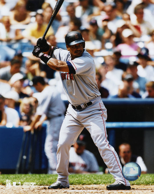 Manny Ramirez of the Boston Red Sox batting in 2002. (National Baseball Hall of Fame)