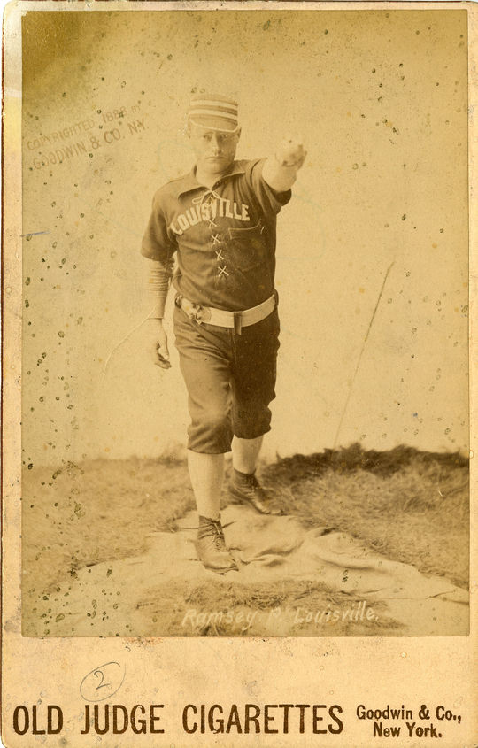 Tom Ramsey, pictured above, played on the Toledo Blue Stockings with Sim Bullas. (National Baseball Hall of Fame)