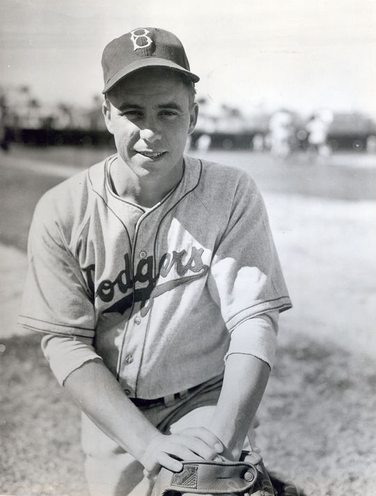 After being hit by a pitch and sitting out for 18 days, Pee Wee Reese was eager to try the Brooklyn Safety Cap. (National Baseball Hall of Fame)