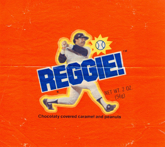 """""""Reggie"""" bars were a stadium giveaway while Reggie Jackson was playing on the New York Yankees in 1978 and were sold throughout the country following Jackson's legendary performance in the 1977 World Series. (National Baseball Hall of Fame)"""
