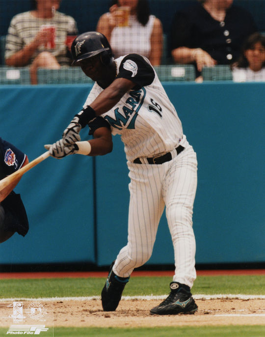 Édgar Rentería of the Florida Marlins batting in 1997. (National Baseball Hall of Fame)