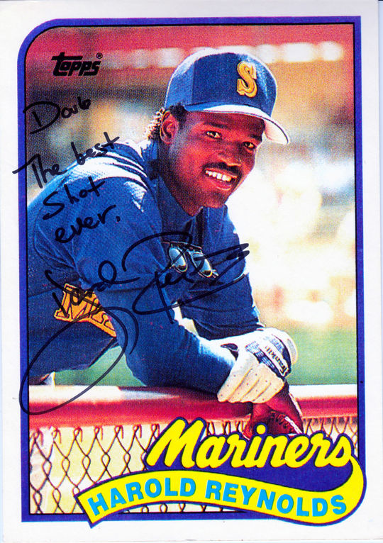 Doug McWilliams cites this 1989 Topps card of Harold Reynolds, for which McWilliams took the photograph, as his favorite baseball card. (Topps baseball card photographed by Milo Stewart Jr./National Baseball Hall of Fame and Museum)