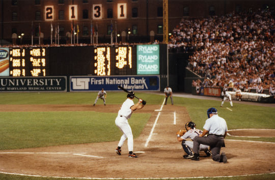 Cal Ripken at bat for the Baltimore Orioles during his 2,131st consecutive game played on Sept. 6, 1995. (National Baseball Hall of Fame and Museum)