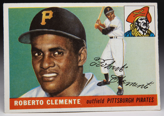 Roberto Clemente's 1955 Topps card is considered one of the most desirable cards among collectors. (Topps baseball card photographed by Milo Stewart Jr./National Baseball Hall of Fame and Museum)