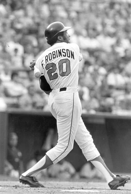 Frank Robinson of the Baltimore Orioles batting. BL-2487.85 (National Baseball Hall of Fame Library)