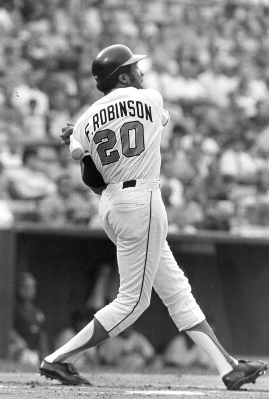Frank Robinson finished his professional career with 2,943 hits, 586 home runs and 5,373 total bases. (National Baseball Hall of Fame and Museum)