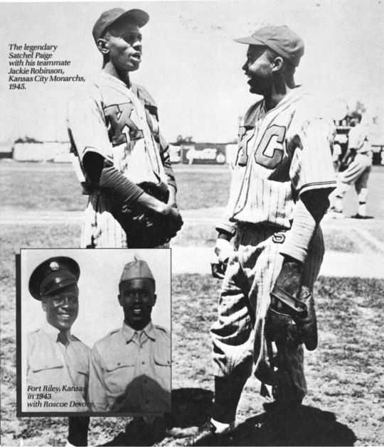 Kansas City Monarchs teammates Jackie Robinson and Satchel Paige were scheduled to play together on Oct. 24 1945, against Kent Parker's Major and Minor League All-Stars. But when Robinson signed with the Dodgers the previous day, he became unavailable for that game. (National Baseball Hall of Fame and Museum)