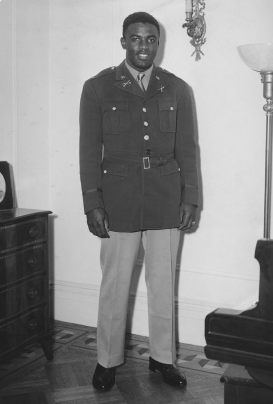 Jackie Robinson, a lieutenant during the war, signed with the Dodgers in 1945 and changed baseball profoundly. BL-1529.68wt (National Baseball Hall of Fame Library)