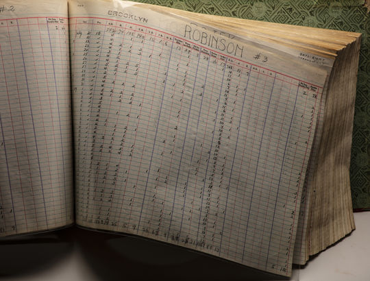 The statistics of Jackie Robinson's 1947 season with the Brooklyn Dodgers are recorded in a ledger that is now preserved at the Hall of Fame. (Milo Stewart Jr./National Baseball Hall of Fame and Museum)