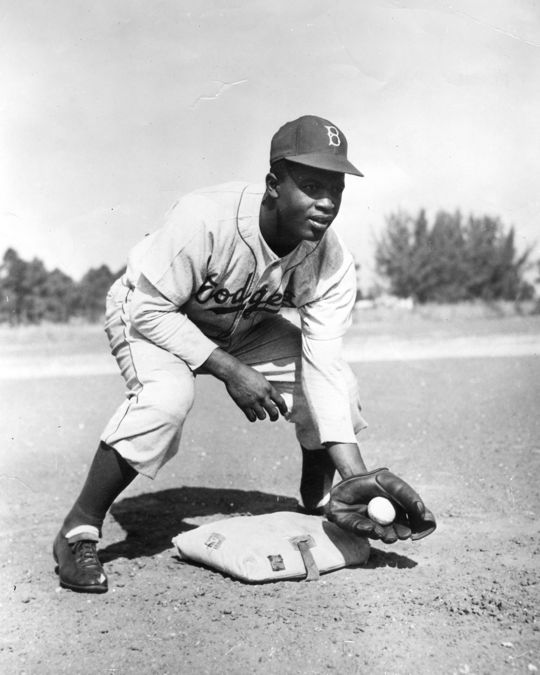 Jackie Robinson began his big league career as a first baseman in 1947 before switching to second base in 1948. Robinson also played more than 250 games at third base during his career. (National Baseball Hall of Fame and Museum)