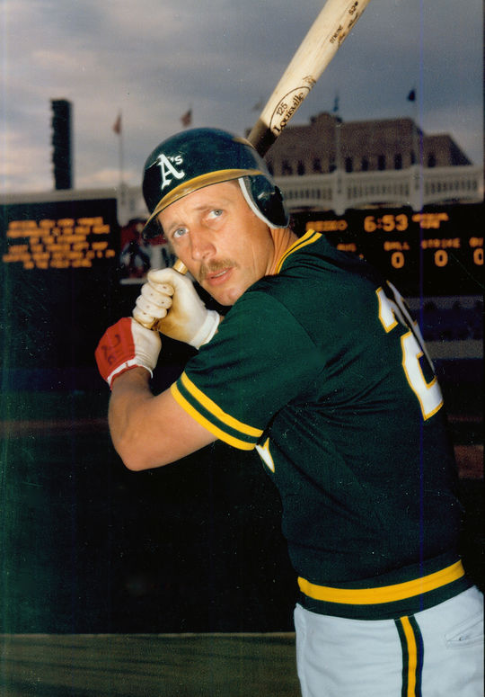 Joe Rudi of the Oakland A's, seeing wearing batting gloves. BL-1394.2004 (National Baseball Hall of Fame Library)