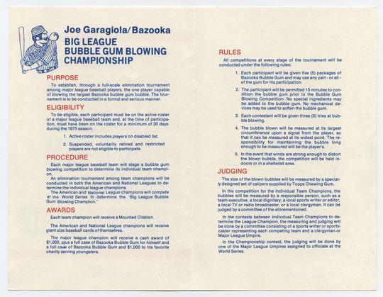 "The inside of ""Joe Garagiola Bazooka Big League Bubble Gum Blowing Championship"" official rules. BL-392.2006.46 (National Baseball Hall of Fame Library)"