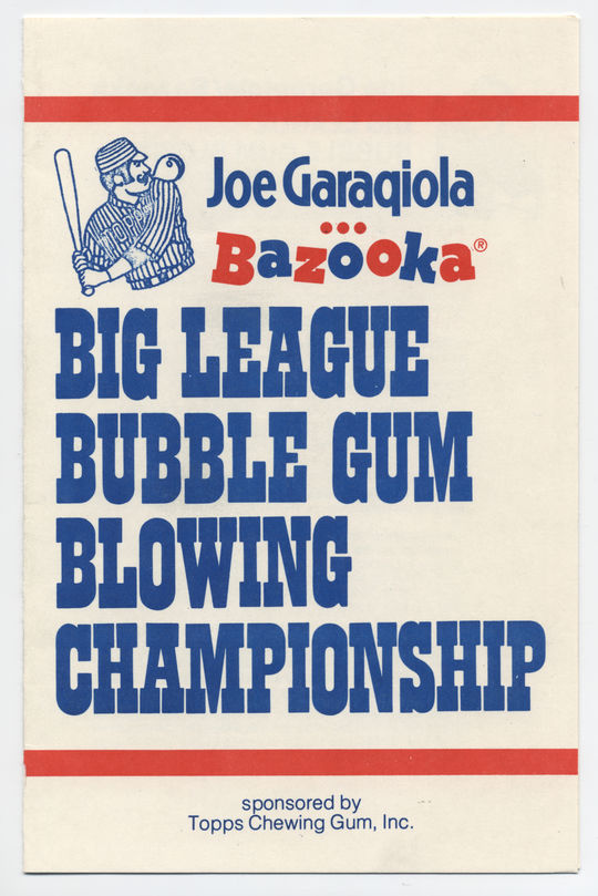 """The official rules of the """"Joe Garagiola Bazooka Big League Bubble Gum Blowing Championship."""" BL-392.2006.46 (National Baseball Hall of Fame Library)"""