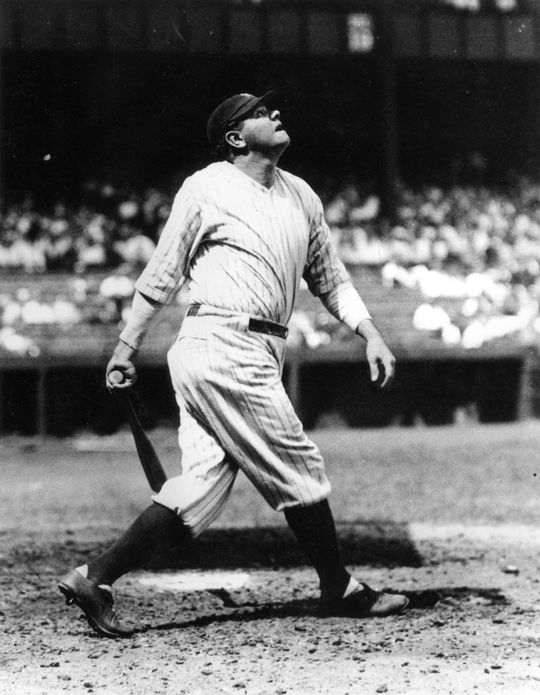 Babe Ruth finishing his swing. BL-18.90 (National Baseball Hall of Fame Library)