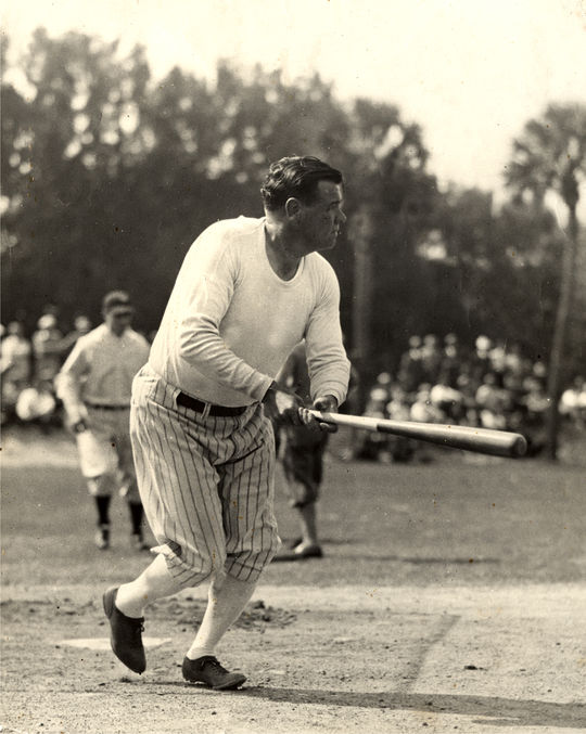The Sing Sing Prison inmates lost an exhibition game against a team featuring Babe Ruth and Lou Gehrig by a score of 17-3, following a particularly outstanding performance by the Babe. The Hall of Famer hit  three home runs, one of which, legend has it, traveled 620 feet. (National Baseball Hall of Fame)