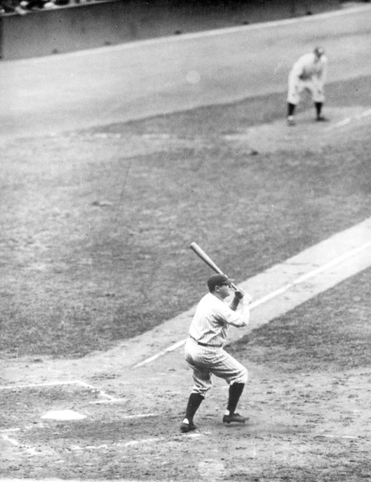 Babe Ruth hits his 60th home run of the 1927 season. The record-making home run took place at Yankee Stadium. B-330-50 (National Baseball Hall of Fame Library)