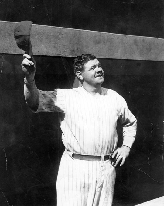Babe Ruth wore Yankee pinstripes for 15 seasons, but a jersey he never wore during an official MLB game became maybe his most famous after he wore it in the film <em>The Pride of the Yankees</em>. (National Baseball Hall of Fame and Museum)
