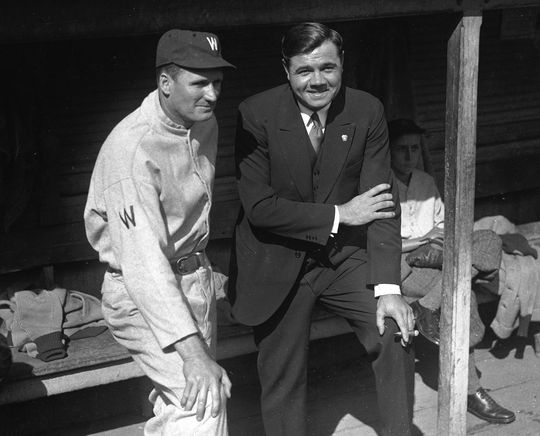 The 1916 season was an important one for Ruth. The southpaw won his first four starts and hit his stride in June, picking up three shutouts among his five victories. His two wins in August came by shutouts, including a 13-inning 1-0 duel with Washington's Walter Johnson (pictured above, left). (National Baseball Hall of Fame)