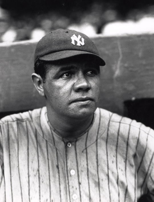 In 17 seasons as a full-time big league outfielder, Babe Ruth led the American League in home runs 12 times. (Charles M. Conlon/National Baseball Hall of Fame and Museum)