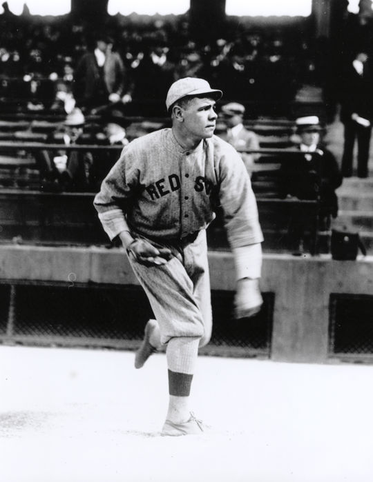 Babe Ruth won 89 games over six seasons as a pitcher with the Red Sox, posting a 2.19 earned-run average. (National Baseball Hall of Fame and Museum)