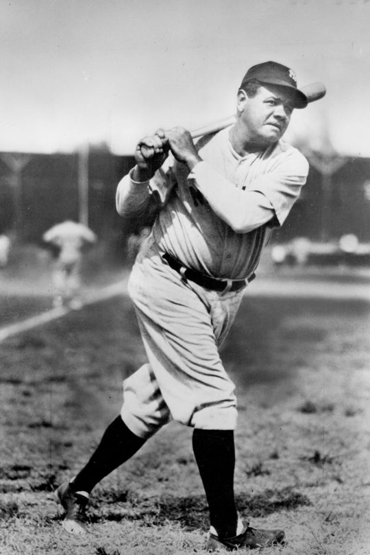 Ruth played 15 of his 22 seasons with the Yankees, winning the World Series four times with the team. (National Baseball Hall of Fame and Museum)