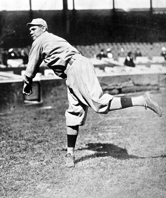 Babe Ruth shut out the Cubs in Game 1 of the 1918 World Series en route to 29.2 consecutive scoreless innings in World Series play. (National Baseball Hall of Fame and Museum)