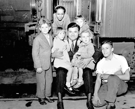 """Babe Ruth loved children, one of many qualities, or """"pluses,"""" that Hoyt saw in Ruth.   Ruth-Babe-5641.95_w-kids_-NBL  (National Baseball Hall of Fame and Museum"""