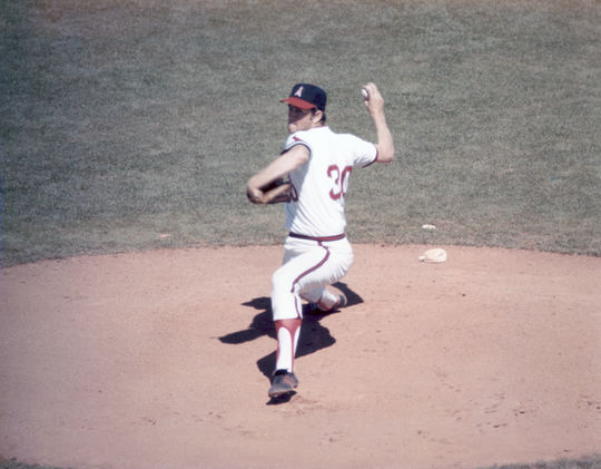 Ryan struck out 15 Minnesota batters and won his 22nd game of the season en route to his third career no-hitter in a 4-0 victory for the Angels on Sept. 28, 1974. (National Baseball Hall of Fame)