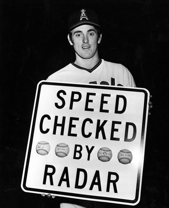 Nolan Ryan's fastball was measured to at 100.9 miles per hour by Rockwell International on August 20, 1974, breaking an unofficial record for fastest pitch set by fellow Hall of Famer Bob Feller. BL-4207-74 (National Baseball Hall of Fame Library)
