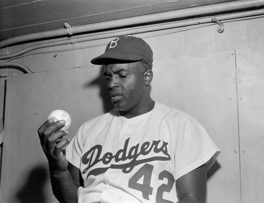 Jackie Robinson of the Brooklyn Dodgers. (Osvaldo Salas / National Baseball Hall of Fame Library)