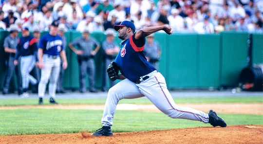 CC Sabathia delivers a pitch for the Indians during the Hall of Fame Game on July 24, 2000, against the Arizona Diamondbacks at Cooperstown's Doubleday Field. (Milo Stewart Jr./National Baseball Hall of Fame and Museum)