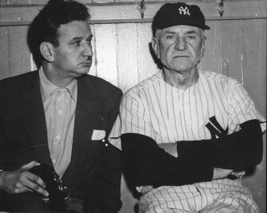 Osvaldo Salas photographed by his son, Roberto, with Hall of Famer Casey Stengel.
