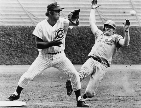 Chicago Cubs third baseman Ron Santo collects a putout in a game against the Montreal Expos at Wrigley Field. Santo captured five consecutive Gold Glove Awards from 1964-68. BL-5510-72 (National Baseball Hall of Fame Library)