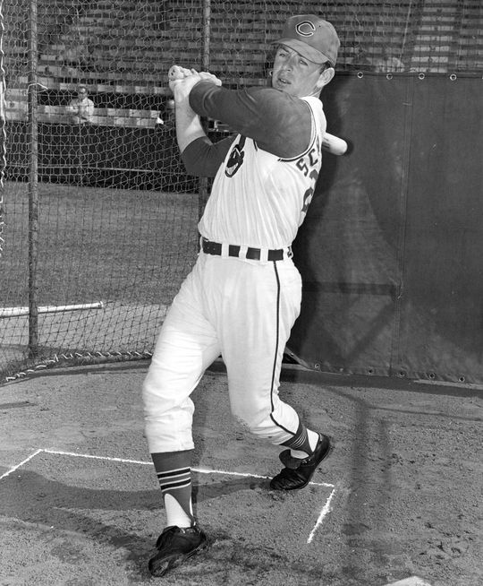 Richie Scheinblum posed batting in his Cleveland Indians uniform. (National Baseball Hall of Fame Library)