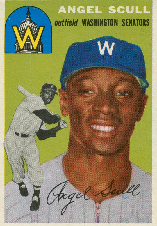 Topps issued a card of Angel Scull in 1954, anticipating his integration of the Washington Senators.  Scull never appeared in a Major League game.  (National Baseball Hall of Fame)