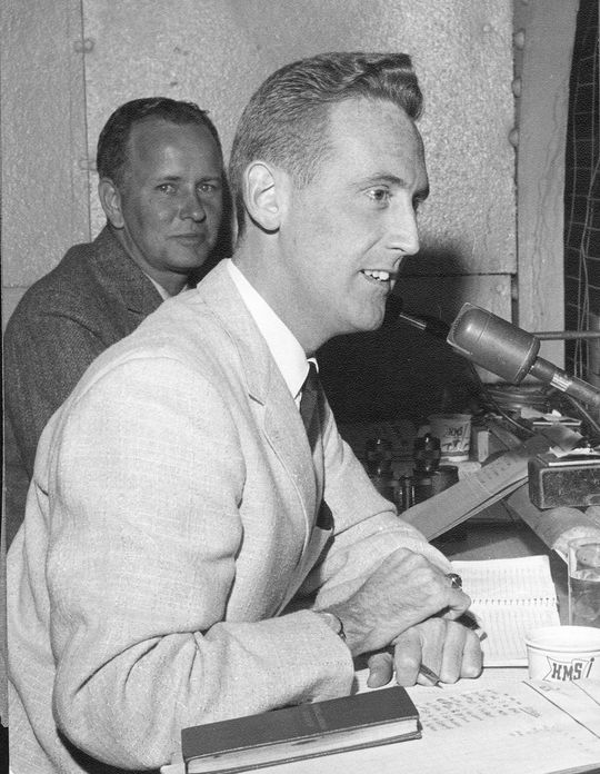 Vin Scully began his broadcasting career with the Brooklyn Dodgers in 1950. He would remain in the Dodgers' broadcast booth through the 2016 season. (National Baseball Hall of Fame)