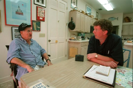 Spink Award winner Dan Shaughnessy with Hall of Famer Ted Williams shortly before Williams' passing in 2002. Shaughnessy was the last writer to interview the Splendid Splinter during his stellar baseball life. (Courtesy of <em>The Boston Globe</em>)