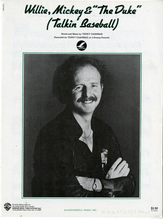 """The front cover to the sheet music for """"Talkin' Baseball,"""" by Terry Cashman. BL-8757.89 (National Baseball Hall of Fame Library)"""