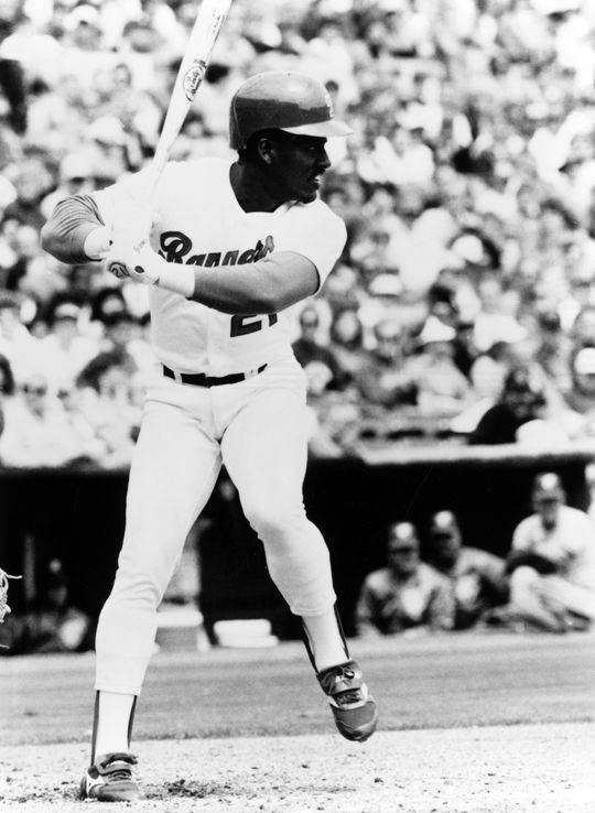 Ruben Sierra batting for the Texas Rangers in an 1989 game. BL-8819.89 (National Baseball Hall of Fame Library)