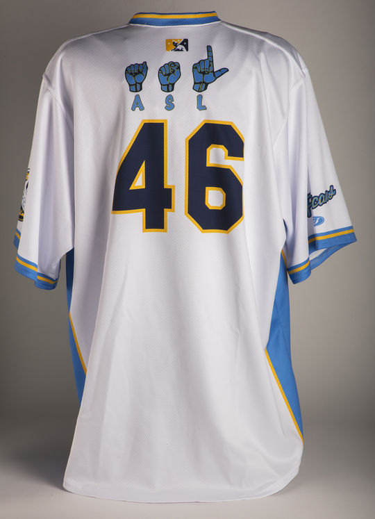 """Using American Sign Language characters, the Myrtle Beach Pelicans jerseys from Aug. 19, 2018, read """"Pelicans"""" across the front and had player names on the back. (Milo Stewart Jr./National Baseball Hall of Fame and Museum)"""