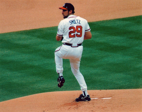 Hall of Fame pitcher John Smoltz collected 210 victories and 154 saves during his 20 seasons in Atlanta. BL-12-2012-1933 (Brad Mangin / National Baseball Hall of Fame Library)
