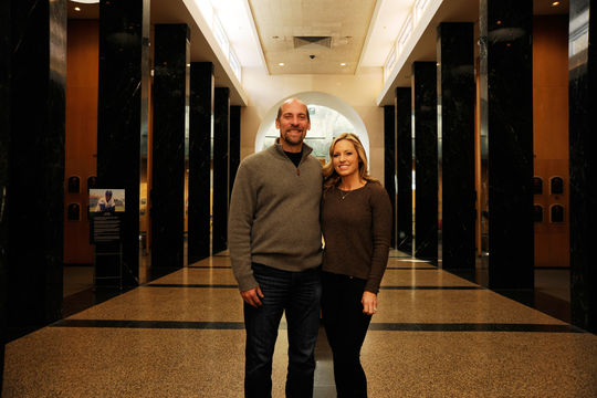 John and Kathryn Smoltz pause for a moment in the Museum's Plaque Gallery during his Feb. 3 Orientation Visit in Cooperstown. (Milo Stewart, Jr. / National Baseball Hall of Fame)