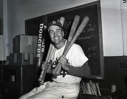 A young Duke Snider, pictured in the Brooklyn Dodgers locker room with bats on his shoulder, in 1952. (National Baseball Hall of Fame)