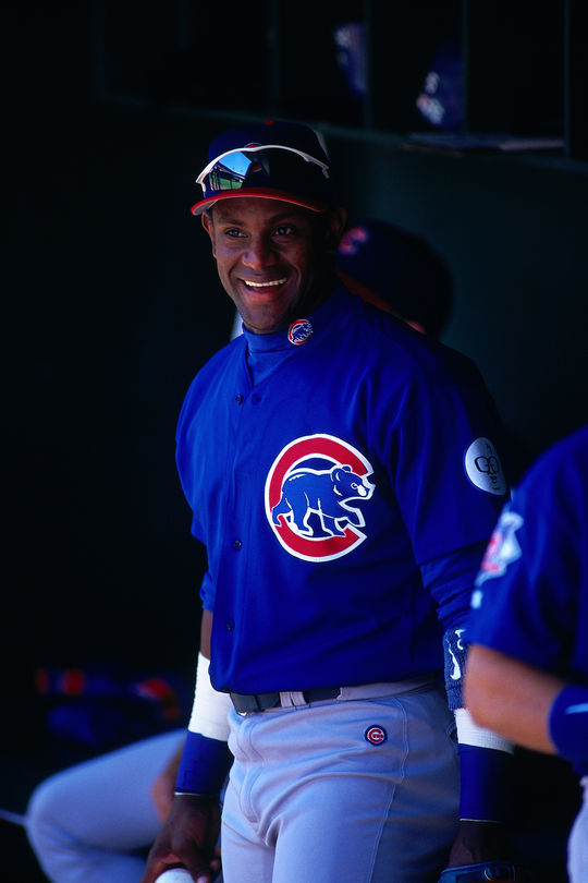 Sammy Sosa won the 1998 National League Most Valuable Player Award and finished in the top 10 of NL MVP voting six other times. (Brad Mangin/National Baseball Hall of Fame and Museum)