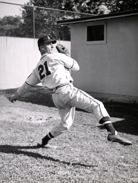 Warren Spahn's classic high-kicking delivery provided him with a Hall of Fame fastball, but Spahn attributed much of his success on the mound to the maturity he found during his time in the military. (National Baseball Hall of Fame and Museum)